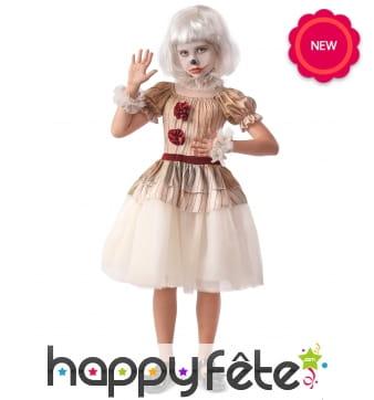 Déguisement robe vintage de clown pour fille