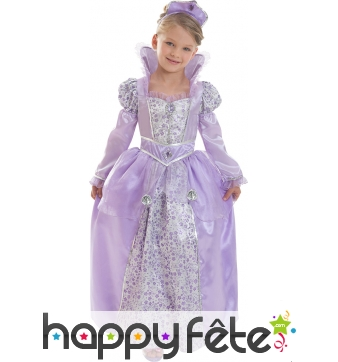 Déguisement robe violette de petite reine lilas