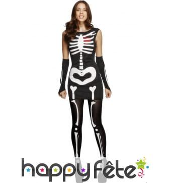 Déguisement squelette femme coeur