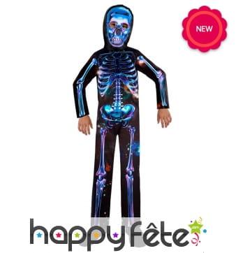 Déguisement squelette néon recyclé pour enfant