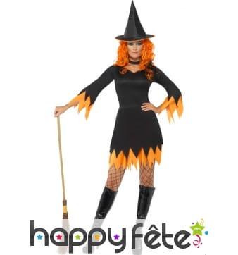 Déguisement sorcière orange femme sexy