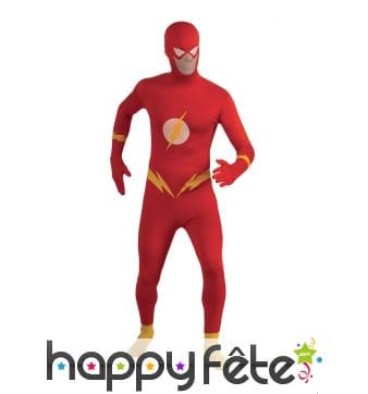 Déguisement seconde peau de Flash pour adulte