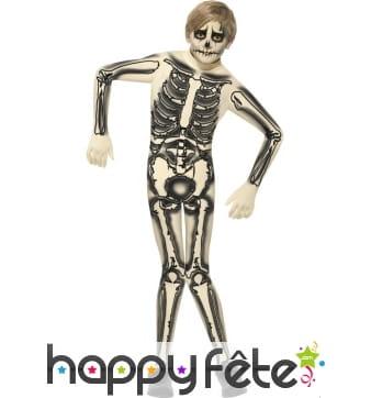 Déguisement seconde peau squelette pour enfant
