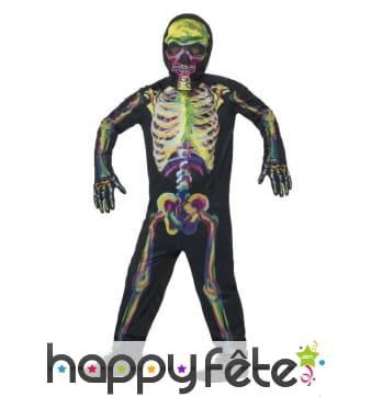 Déguisement squelette phosphorescent pour enfant