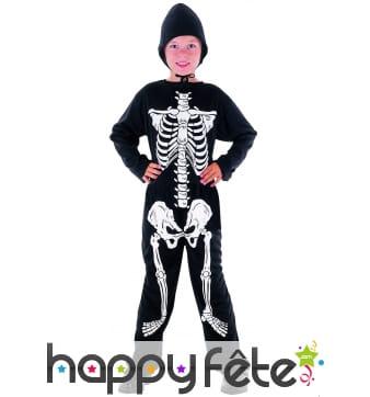 Déguisement squelette sur fond noir pour garçon