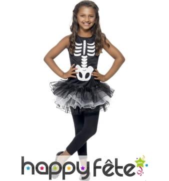 Déguisement squelette tutu pour enfant