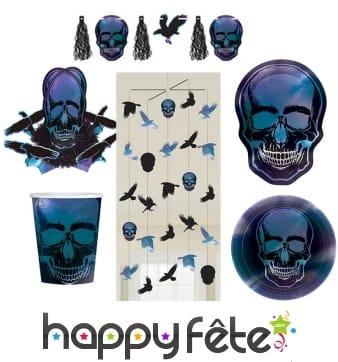Déco tête de mort pour table de Halloween