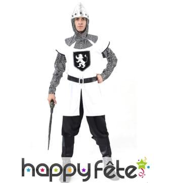 Déguisement tunique de chevalier médiéval blanc