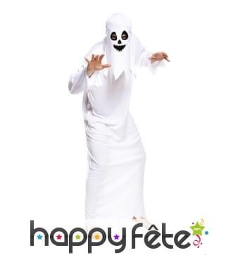 Déguisement tunique de fantôme blanc pour adulte
