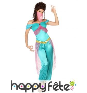 Déguisement turquoise de danseuse orientale