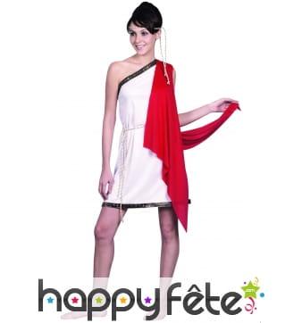 Déguisement tunique romaine blanche, cape rouge