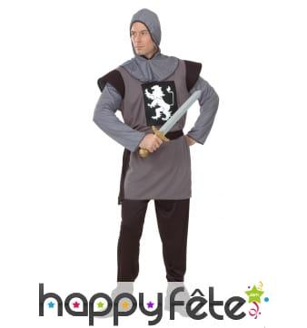 Déguisement uniforme de chevalier médiéval gris