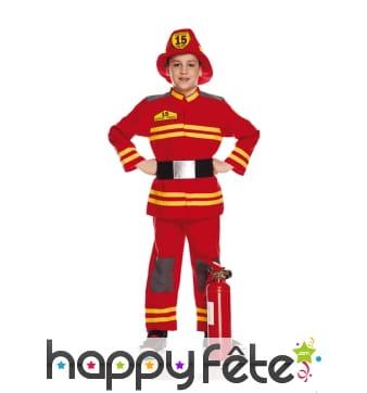 Déguisement uniforme de pompier pour enfant