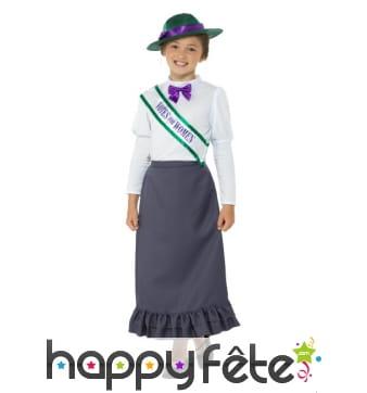 Déguisement victorien de Suffragette pour enfant