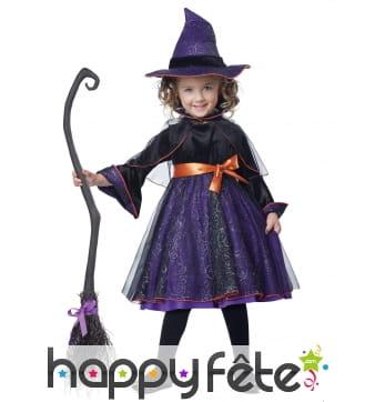 Déguisement violet de sorcière pour petite fille