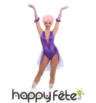 Déguisement violet de trapéziste pour femme