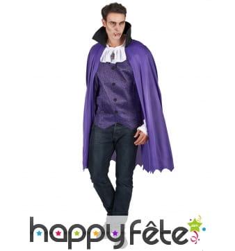 Déguisement violet de vampire avec cape