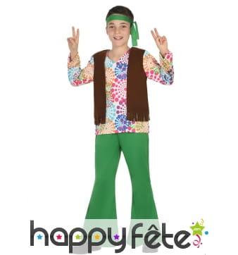 Déguisement vert et coloré de petit hippie