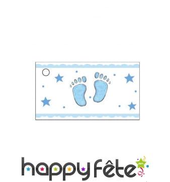 Etiquettes avec petits pieds bleus, en papier