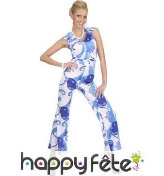 Ensemble bleu avec motifs disco pour femme