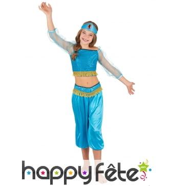 Ensemble bleu de danseuse orientale pour enfant
