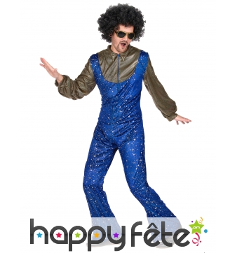 Ensemble bleu disco avec étoiles dorées pour homme