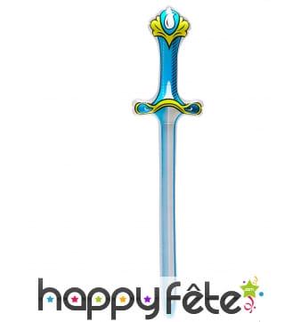 Epée bleue et jaune gonflable de 77 cm