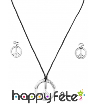 Ensemble collier boucles d'oreilles hippie argenté