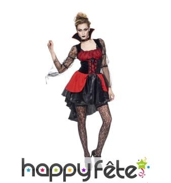 Elégant costume court de vampiresse rouge et noir