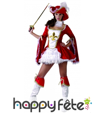 Elegant costume court rouge de femme mousquetaire