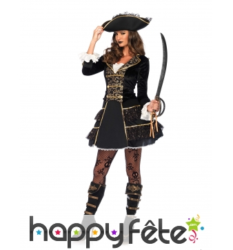 Elegant costume de capitaine femme pirate or noir