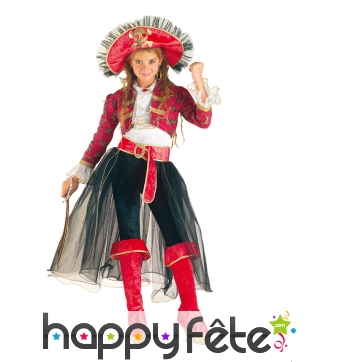 Elégant costume de petite capitaine pirate rose