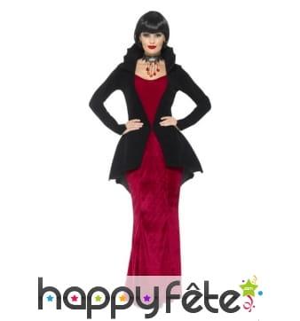 Elegant costume de vampiresse rouge et noir luxe