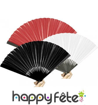 Eventail chinois en papier rouge, noir ou blanc