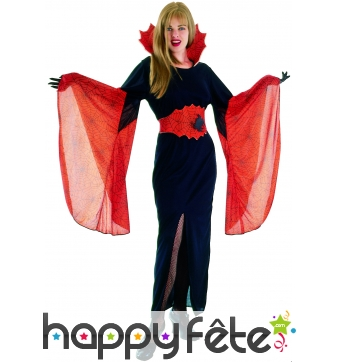 Elegant costume moulant noir rouge de vampiresse