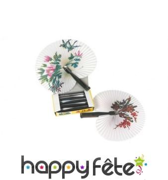 Eventail chinois rond en papier décoré