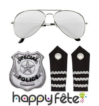 Ensemble d'accessoires de policier pour adulte