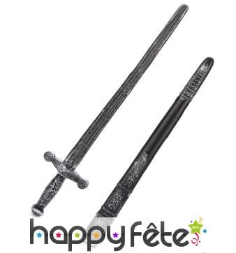 Epée de chevalier en plastique avec fourreau