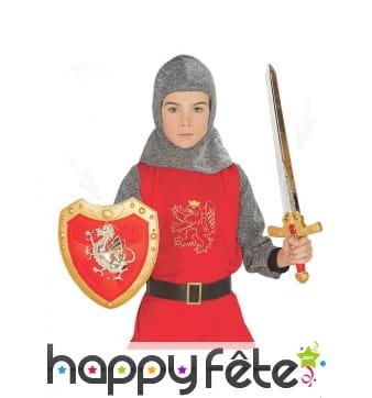 Epée et bouclier rouges de chevalier pour enfant