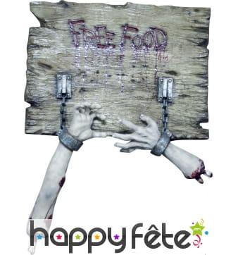 Enseigne Free food Halloween de 80 x 60cm