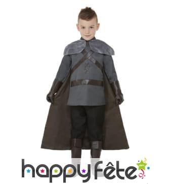 Ensemble gris médiéval avec cape pour enfant