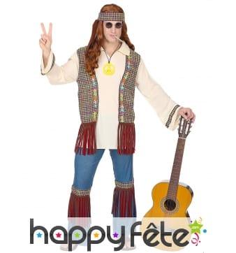 Ensemble hippie avec gilet pour homme adulte