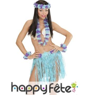 Ensemble hawaïen violet et bleu