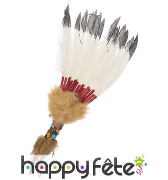Eventail indien avec plumes blanches et noires