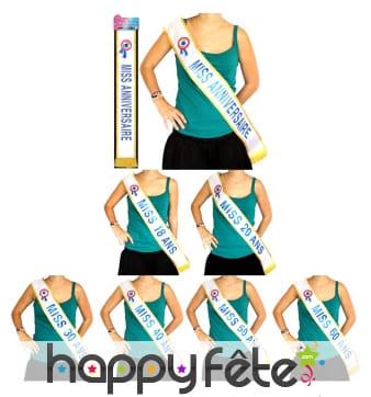Echarpe Miss anniversaire