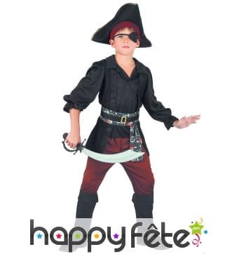 Ensemble noir et rouge de pirate pour enfant