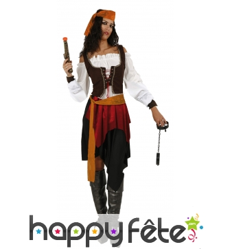 Ensemble piratesse avec corset marron