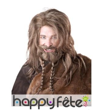Ensemble perruque barbe blonde de Viking