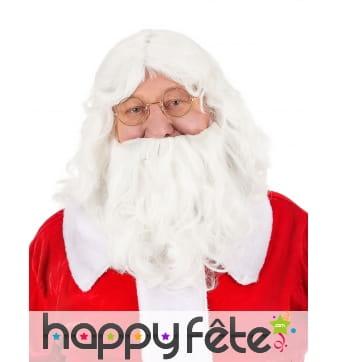 Ensemble perruque et barbe blanche père Noel