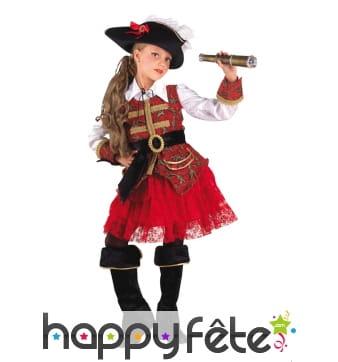 Elégante robe de petite capitaine pirate rouge